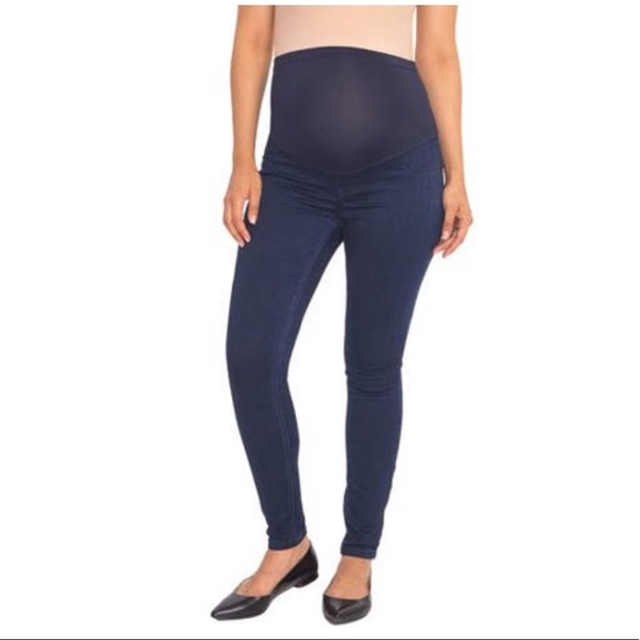 New Womens Great Expectations Ankle Length Maternity Denim Jeans Size L 12-14